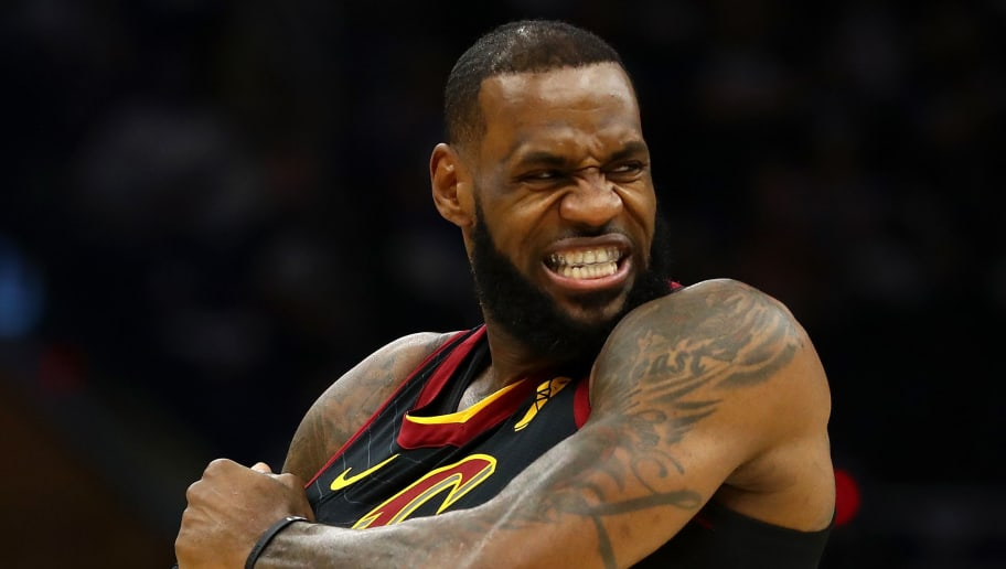 CLEVELAND, OH - APRIL 15:  LeBron James #23 of the Cleveland Cavaliers stretches his jersey just prior to playing the Indiana Pacers in Game One of the Eastern Conference Quarterfinals during the 2018 NBA Playoffs at Quicken Loans Arena on April 15, 2018 in Cleveland, Ohio. Indiana won the game 98-80 to take a 1-0 series lead. NOTE TO USER: User expressly acknowledges and agrees that, by downloading and or using this photograph, User is consenting to the terms and conditions of the Getty Images License Agreement. (Photo by Gregory Shamus/Getty Images)