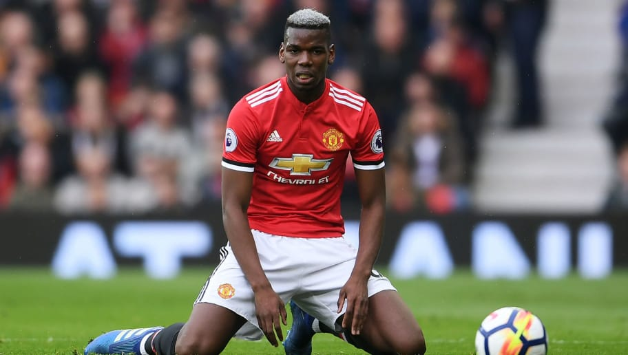 MANCHESTER, ENGLAND - APRIL 15:  Paul Pogba of Manchester United looks dejected during the Premier League match between Manchester United and West Bromwich Albion at Old Trafford on April 15, 2018 in Manchester, England.  (Photo by Laurence Griffiths/Getty Images)