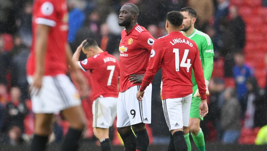 MANCHESTER, ENGLAND - APRIL 15:  Romelu Lukaku of Manchester United looks dejected after the Premier League match between Manchester United and West Bromwich Albion at Old Trafford on April 15, 2018 in Manchester, England.  (Photo by Laurence Griffiths/Getty Images)