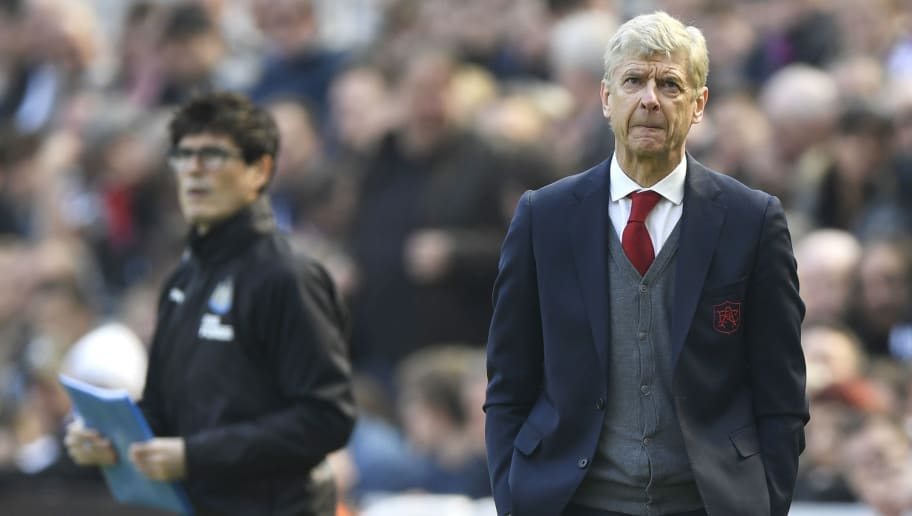 NEWCASTLE UPON TYNE, ENGLAND - APRIL 15:  Arsene Wenger, Manager of Arsenal looks on during the Premier League match between Newcastle United and Arsenal at St. James Park on April 15, 2018 in Newcastle upon Tyne, England.  (Photo by Stu Forster/Getty Images)
