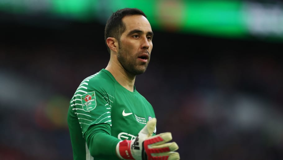 LONDON, ENGLAND - FEBRUARY 25: Claudio Bravo Manchester City during the Carabao Cup Final between Arsenal and Manchester City at Wembley Stadium on February 25, 2018 in London, England. (Photo by Catherine Ivill/Getty Images)