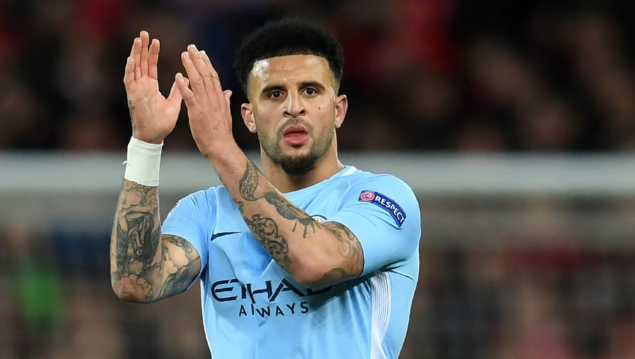 Manchester City's English defender Kyle Walker reacts at the final whistle during the UEFA Champions League first leg quarter-final football match between Liverpool and Manchester City, at Anfield stadium in Liverpool, north west England on April 4, 2018. / AFP PHOTO / Paul ELLIS        (Photo credit should read PAUL ELLIS/AFP/Getty Images)
