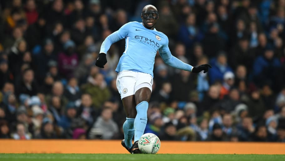 Eliaquim Mangala of Manchester City during the Carabao Cup Semi-Final First Leg match between Manchester City and Bristol City at Etihad Stadium on January 9, 2018 in Manchester, England.  (Photo by Gareth Copley/Getty Images)