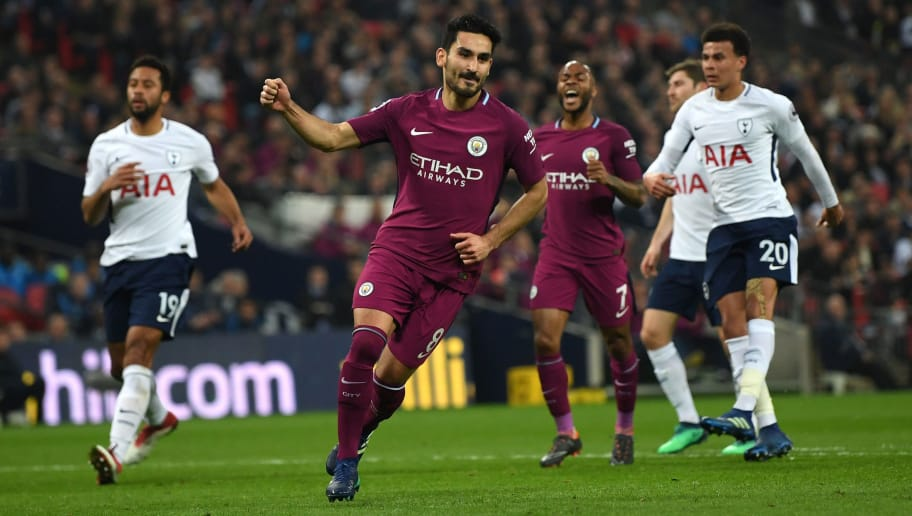 LONDON, ENGLAND - APRIL 14: Ilkay Gundogan of Manchester City celebrates after scoring his sides second goal during the Premier League match between Tottenham Hotspur and Manchester City at Wembley Stadium on April 14, 2018 in London, England.  (Photo by Shaun Botterill/Getty Images)
