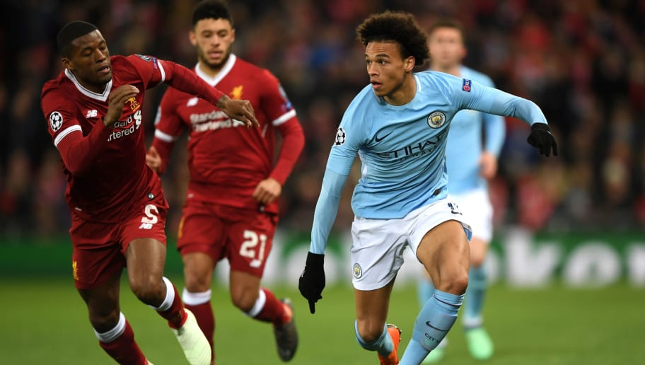 LIVERPOOL, ENGLAND - APRIL 04: Leroy Sane of Manchester City is challenged by Georginio Wijnaldum of Liverpool during the UEFA Champions League Quarter Final Leg One match between Liverpool and Manchester City at Anfield on April 4, 2018 in Liverpool, England.  (Photo by Shaun Botterill/Getty Images)