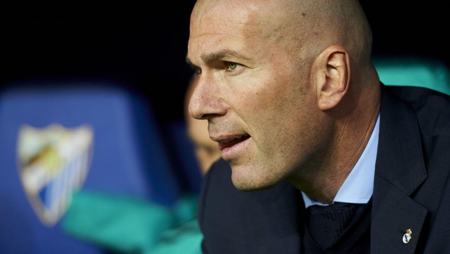 MALAGA, SPAIN - APRIL 15: Head Coach Zinedine Zidane of Real Madrid reacts during the La Liga match between Malaga CF and Real Madrid CF at Estadio La Rosaleda on April 15, 2018 in Malaga, Spain.  (Photo by Aitor Alcalde/Getty Images)