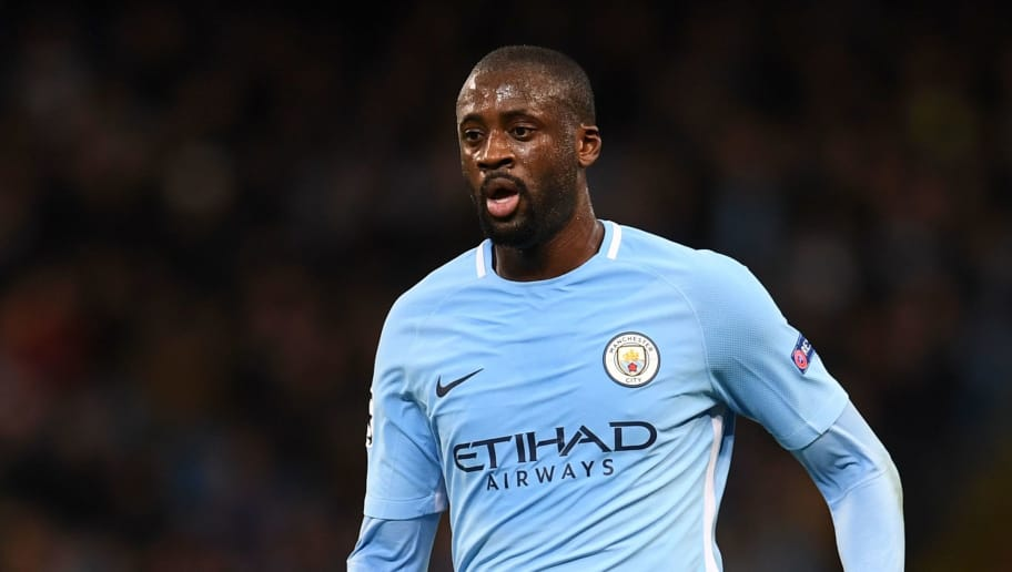 Manchester City's Ivorian midfielder Yaya Toure runs with the ball during the UEFA Champions League Group F football match between Manchester City and Feyenoord at the Etihad Stadium in Manchester, north west England, on November 21, 2017. / AFP PHOTO / Paul ELLIS        (Photo credit should read PAUL ELLIS/AFP/Getty Images)
