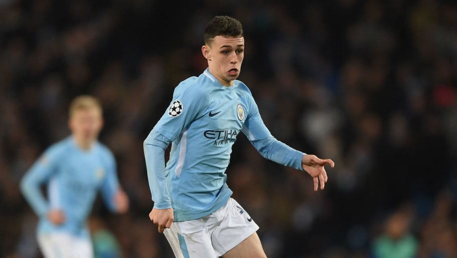 MANCHESTER, ENGLAND - MARCH 07:  Phil Foden of Manchester City in action during the UEFA Champions League Round of 16 second leg match between Manchester City and FC Basel at Etihad Stadium on March 7, 2018 in Manchester, United Kingdom.  (Photo by Shaun Botterill/Getty Images)