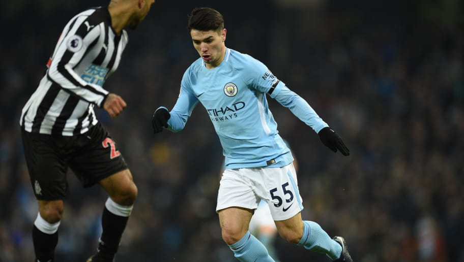 Manchester City's Spanish-born midfielder Brahim Diaz runs with the ball during the English Premier League football match between Manchester City and Newcastle United at the Etihad Stadium in Manchester, north west England, on January 20, 2018. / AFP PHOTO / Oli SCARFF / RESTRICTED TO EDITORIAL USE. No use with unauthorized audio, video, data, fixture lists, club/league logos or 'live' services. Online in-match use limited to 75 images, no video emulation. No use in betting, games or single club/league/player publications.  /         (Photo credit should read OLI SCARFF/AFP/Getty Images)