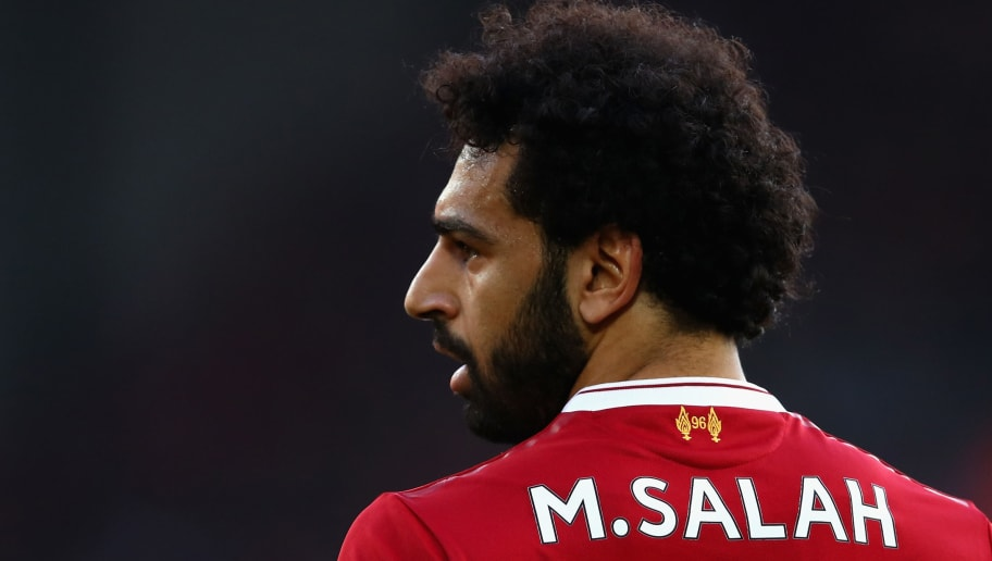 LIVERPOOL, ENGLAND - APRIL 14:  Mohamed Salah of Liverpool in action during the Premier League match between Liverpool and AFC Bournemouth at Anfield on April 14, 2018 in Liverpool, England.  (Photo by Clive Brunskill/Getty Images)