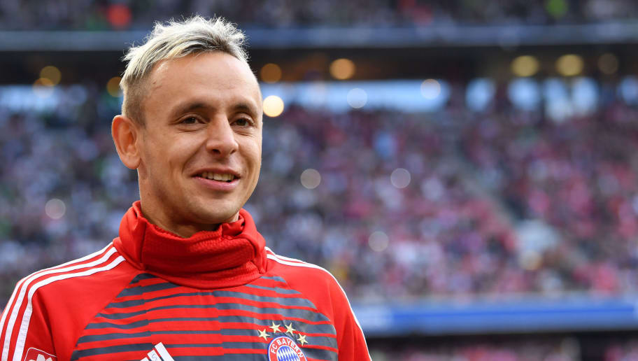 MUNICH, GERMANY - APRIL 14: Rafinha of Bayern Muenchen looks on before the Bundesliga match between FC Bayern Muenchen and Borussia Moenchengladbach at Allianz Arena on April 14, 2018 in Munich, Germany. (Photo by Sebastian Widmann/Bongarts/Getty Images,)