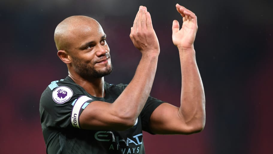 STOKE ON TRENT, ENGLAND - MARCH 12:  Vincent Kompany of Manchester City salutes the travelling fans after the Premier League match between Stoke City and Manchester City at Bet365 Stadium on March 12, 2018 in Stoke on Trent, England.  (Photo by Michael Regan/Getty Images)