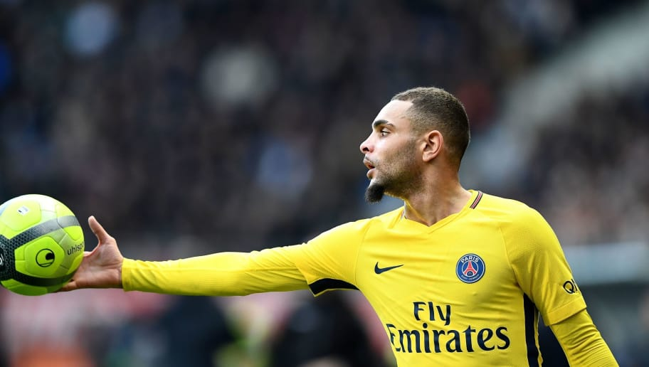 Paris Saint-Germain's French defender Layvin Kurzawa holds a ball during the French L1 football match between Troyes and Paris Saint-Germain at the Aube Stadium in Troyes on March 3, 2018.   / AFP PHOTO / FRANCK FIFE        (Photo credit should read FRANCK FIFE/AFP/Getty Images)