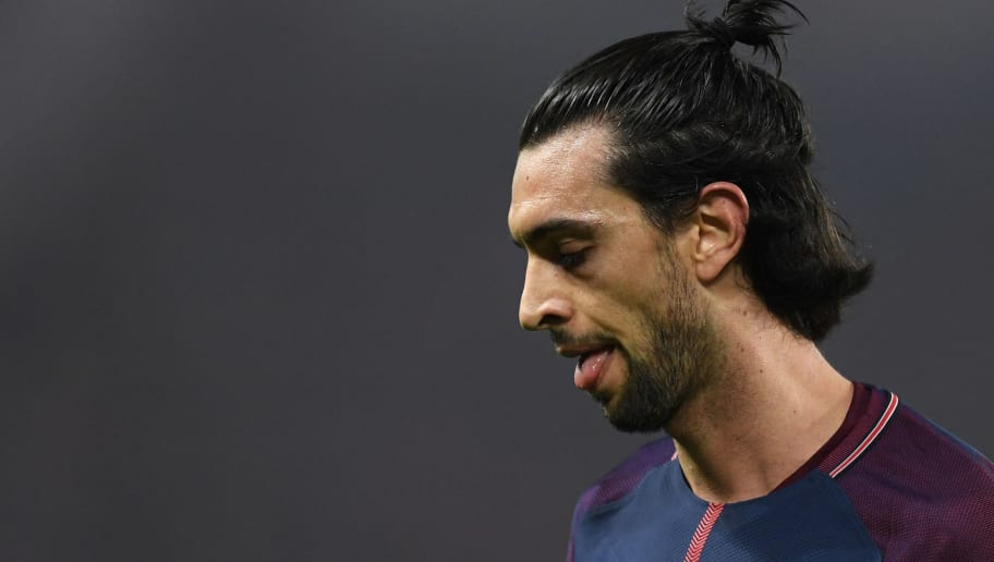 PARIS, FRANCE - MARCH 06:  Javier Pastore of PSG looks dejected during the UEFA Champions League Round of 16 Second Leg match between Paris Saint-Germain and Real Madrid at Parc des Princes on March 6, 2018 in Paris, France.  (Photo by Matthias Hangst/Getty Images)