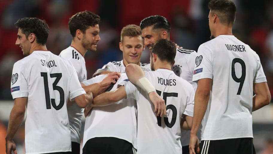 NUREMBERG, GERMANY - JUNE 10:  Shkodran Mustafi of Germany of Germany celebrates his first goal with teammates Lars Stindl, Jonas Hector, Joshua Kimmich, Emre Can, Amin Younes and Sandro Wagner (L-R) during the FIFA 2018 World Cup Qualifier between Germany and San Marino at Max Morlock Stadion on June 10, 2017 in Nuremberg, Bavaria.  (Photo by Alexandra Beier/Bongarts/Getty Images)