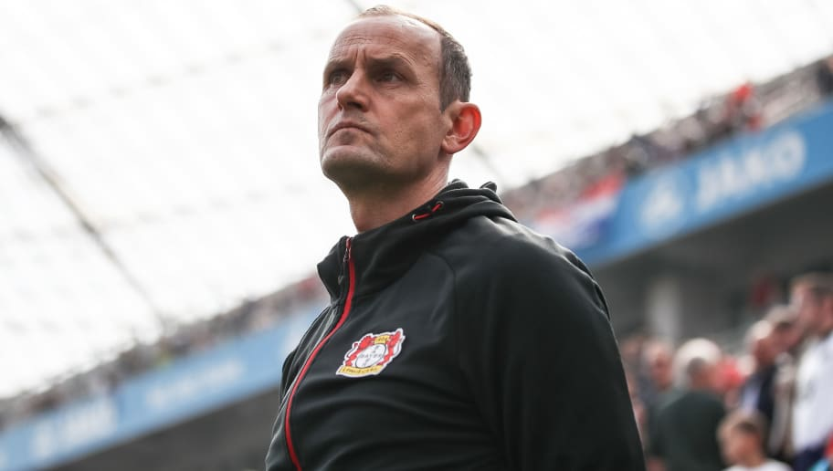 LEVERKUSEN, GERMANY - APRIL 14: Heiko Herrlich head coach of Leverkusen looks on prior the Bundesliga match between Bayer 04 Leverkusen and Eintracht Frankfurt at BayArena on April 14, 2018 in Leverkusen, Germany. (Photo by Maja Hitij/Bongarts/Getty Images)