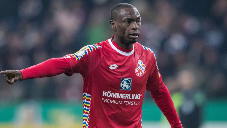 FRANKFURT AM MAIN, GERMANY - FEBRUARY 07: Anthony Ujah of Mainz gestures during the DFB Cup quarter final match between Eintracht Frankfurt and 1. FSV Mainz 05 at Commerzbank-Arena on February 7, 2018 in Frankfurt am Main, Germany. (Photo by Simon Hofmann/Bongarts/Getty Images)