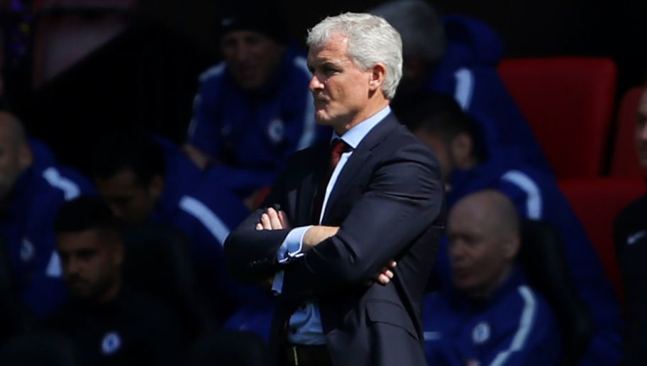 SOUTHAMPTON, ENGLAND - APRIL 14:  Mark Hughes, Manager of Southampton looks on during the Premier League match between Southampton and Chelsea at St Mary's Stadium on April 14, 2018 in Southampton, England.  (Photo by Warren Little/Getty Images)