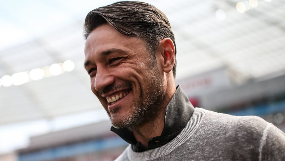 LEVERKUSEN, GERMANY - APRIL 14: Head Coach Niko Kovac of Eintracht Frankfurt smiles prior the Bundesliga match between Bayer 04 Leverkusen and Eintracht Frankfurt at BayArena on April 14, 2018 in Leverkusen, Germany. (Photo by Maja Hitij/Bongarts/Getty Images)