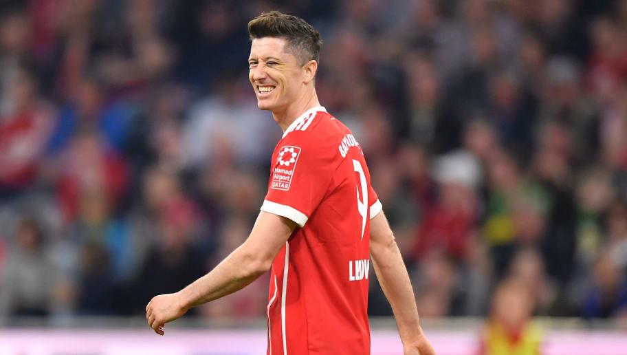 MUNICH, GERMANY - APRIL 14: Robert Lewandowski of Bayern Muenchen reacts during the Bundesliga match between FC Bayern Muenchen and Borussia Moenchengladbach at Allianz Arena on April 14, 2018 in Munich, Germany. (Photo by Sebastian Widmann/Bongarts/Getty Images,)