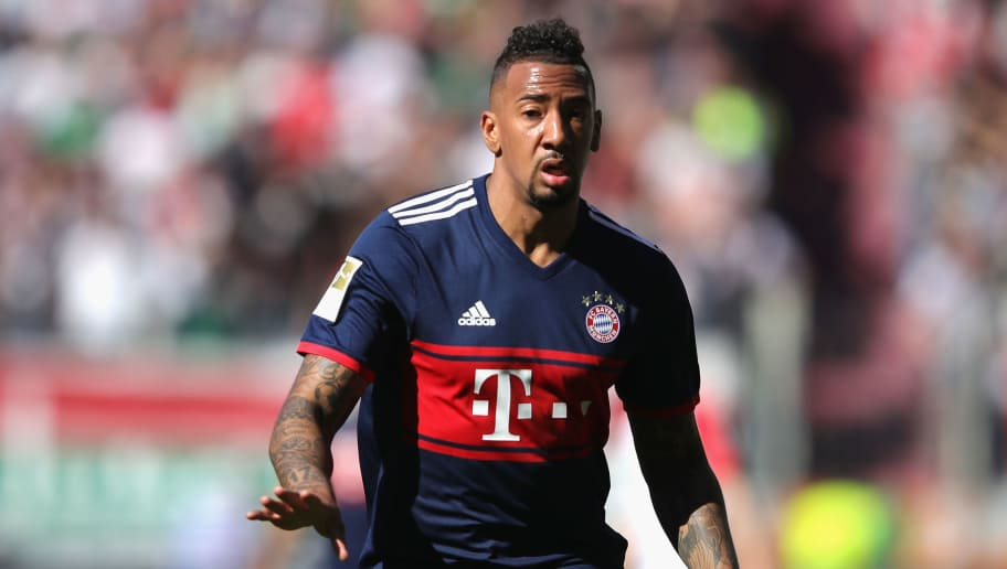 AUGSBURG, GERMANY - APRIL 07:  Jerome Boateng of Bayern Muechen, looks on during the Bundesliga match between FC Augsburg and FC Bayern Muenchen at WWK-Arena on April 7, 2018 in Augsburg, Germany.  (Photo by Alexander Hassenstein/Bongarts/Getty Images)