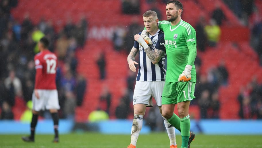 MANCHESTER, ENGLAND - APRIL 15:  James McClean of West Bromwich Albion and Ben Foster of West Bromwich Albion celebrates after the Premier League match between Manchester United and West Bromwich Albion at Old Trafford on April 15, 2018 in Manchester, England.  (Photo by Laurence Griffiths/Getty Images)