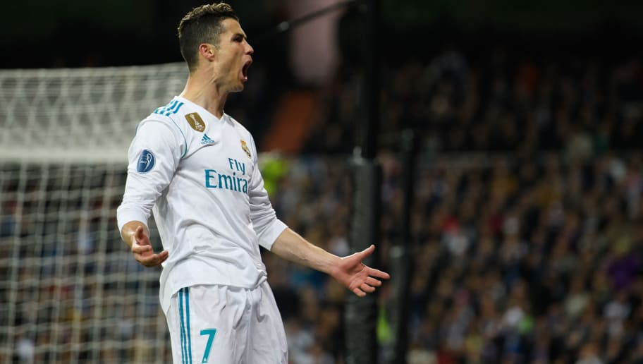 MADRID, SPAIN - APRIL 11: Cristiano Ronaldo of Real Madrid reacts during the UEFA Champions League Quarter Final Second Leg match between Real Madrid and Juventus at Estadio Santiago Bernabeu on April 11, 2018 in Madrid, Spain. (Photo by Matthias Hangst/Bongarts/Getty Images)