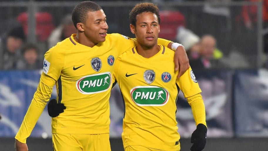Paris Saint-Germain's Brazilian forward Neymar (R) celebrates after scoring with Paris Saint-Germain's French forward Kylian Mbappe during the French cup football match Rennes vs Paris SG at the Roazhon Park in Rennes, on January 7, 2018.     / AFP PHOTO / LOIC VENANCE        (Photo credit should read LOIC VENANCE/AFP/Getty Images)
