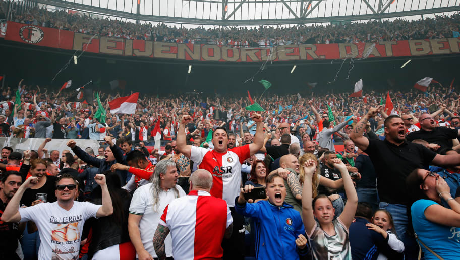 ROTTERDAM, NETHERLANDS - MAY 14:  Fans of Feyenoord Rotterdam celebrate their team scoring a goal during the Dutch Eredivisie match between Feyenoord Rotterdam and SC Heracles Almelo held at De Kuip or Stadion Feijenoord on May 14, 2017 in Rotterdam, Netherlands.  (Photo by Dean Mouhtaropoulos/Getty Images)