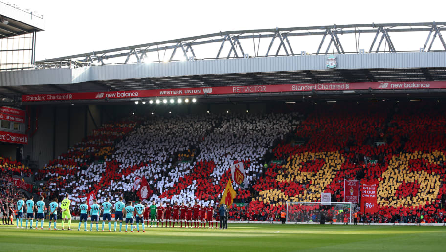 LIVERPOOL, ENGLAND - APRIL 14:  A general view as players and fans remember those who lost their lives in the Hillsborough disaster prior to the Premier League match between Liverpool and AFC Bournemouth at Anfield on April 14, 2018 in Liverpool, England.  (Photo by Clive Brunskill/Getty Images)