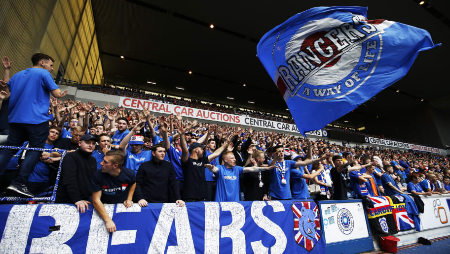 GLASGOW, SCOTLAND - AUGUST 06: Rangers fans during the Ladbrokes Scottish Premiership match between Rangers and Hamilton Academical at Ibrox Stadium on August 6, 2016 in Glasgow, Scotland. (Photo by Lynne Cameron/Getty Images)