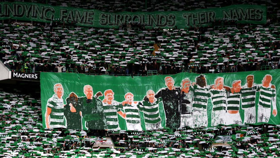 GLASGOW, SCOTLAND - DECEMBER 30: A general view as Celtic fans display a team banner during  the Scottish Premier League match between Celtic and Rangers at Celtic Park on December 30, 2017 in Glasgow, Scotland.  (Photo by Ian MacNicol/Getty Images)