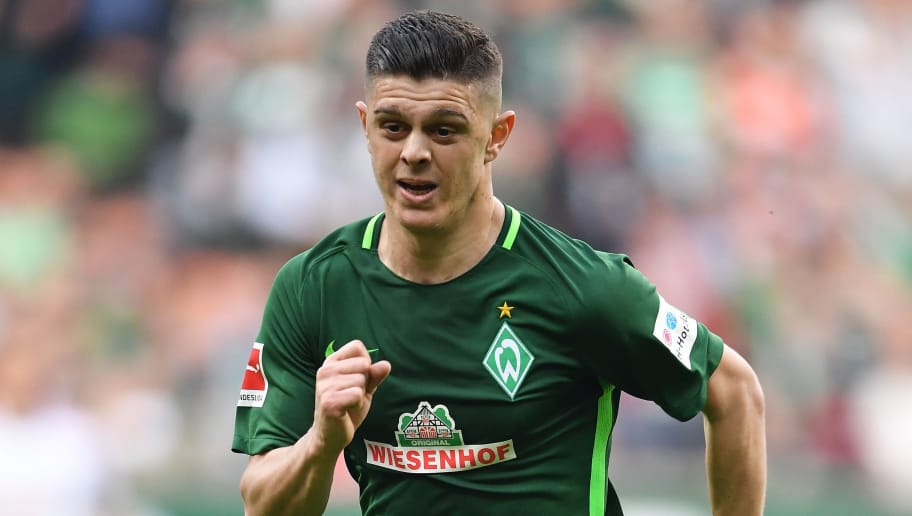 BREMEN, GERMANY - APRIL 15:  Milot Rashica of Bremen in action during the Bundesliga match between SV Werder Bremen and RB Leipzig at Weserstadion on April 15, 2018 in Bremen, Germany.  (Photo by Stuart Franklin/Bongarts/Getty Images)