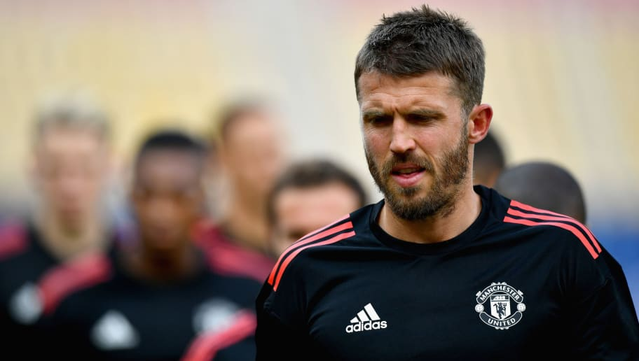 SKOPJE, MACEDONIA - AUGUST 07: Michael Carrick of Manchester United trains during a training session ahead of the UEFA Super Cup final between Real Madrid and Manchester United on August 7, 2017 in Skopje, Macedonia.  (Photo by Dan Mullan/Getty Images)