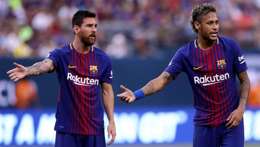 EAST RUTHERFORD, NJ - JULY 22:  Lionel Messi #10 and Neymar #11 of Barcelona react to the way Juventus lined up for a kick in the first half during the International Champions Cup 2017  on July 22, 2017 at MetLife Stadium in East Rutherford, New Jersey.  (Photo by Elsa/Getty Images)