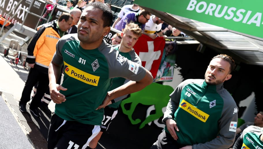 MOENCHENGLADBACH, GERMANY - APRIL 07: Raffael of Moenchengladbach looks on prior to the Bundesliga match between Borussia Moenchengladbach and Hertha BSC at Borussia-Park on April 7, 2018 in Moenchengladbach, Germany. (Photo by Christof Koepsel/Bongarts/Getty Images)