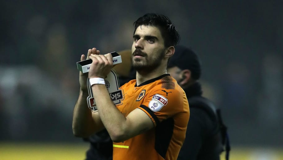 WOLVERHAMPTON, ENGLAND - APRIL 11:  Ruben Neves of Wolverhampton Wanderers celebrates after their victory during the Sky Bet Championship match between Wolverhampton Wanderers and Derby County at Molineux on April 11, 2018 in Wolverhampton, England.  (Photo by David Rogers/Getty Images)