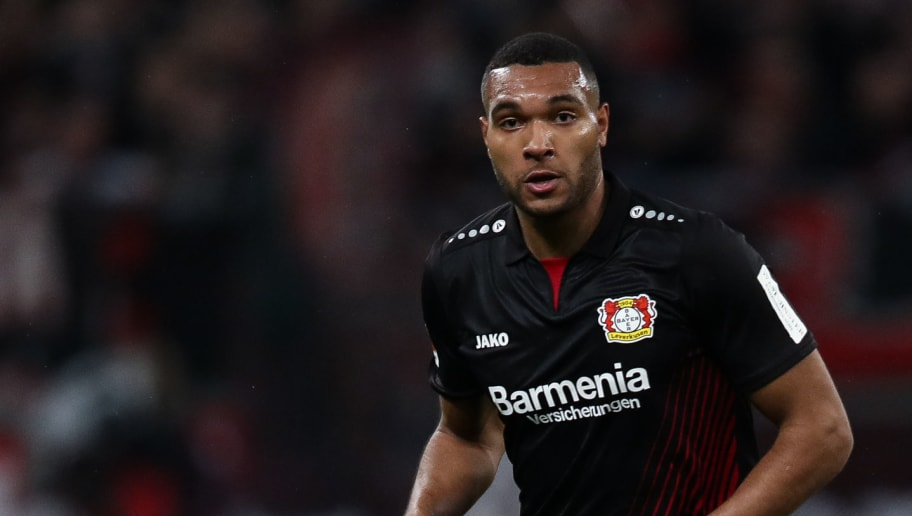 LEVERKUSEN, GERMANY - MARCH 10: Jonathan Tah #4 of Bayer Leverkusen controls the ball during the Bundesliga match between Bayer 04 Leverkusen and Borussia Moenchengladbach at BayArena on March 10, 2018 in Leverkusen, Germany. (Photo by Maja Hitij/Bongarts/Getty Images)