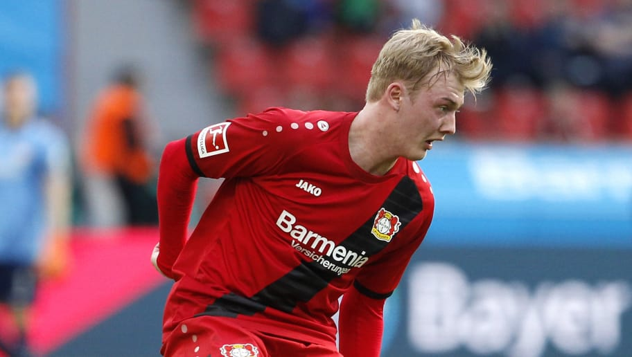 LEVERKUSEN, GERMANY - MARCH 31: Julian Brandt of Leverkusen runs with the ball during the Bundesliga match between Bayer 04 Leverkusen and FC Augsburg at BayArena on March 31, 2018 in Leverkusen, Germany. (Photo by Mika Volkmann/Bongarts/Getty Images)