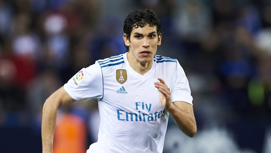 MALAGA, SPAIN - APRIL 15:  Jesus Vallejo of Real Madrid controls the ball during the La Liga match between Malaga CF and Real Madrid CF at Estadio La Rosaleda on April 15, 2018 in Malaga, Spain.  (Photo by Aitor Alcalde/Getty Images)