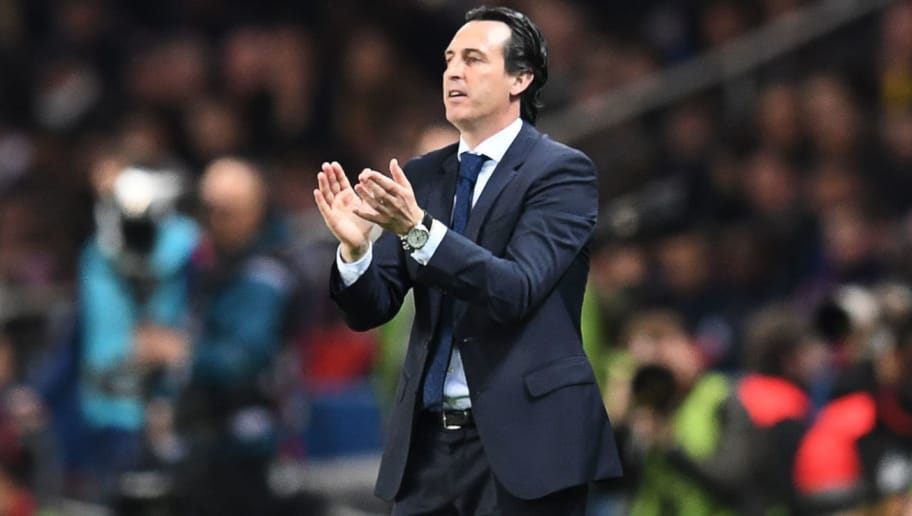 Paris Saint-Germain's Spanish headcoach Unai Emery applauds  during the French L1 football match between Paris Saint-Germain (PSG) and Monaco (ASM) on April 15, 2018, at the Parc des Princes stadium in Paris. / AFP PHOTO / CHRISTOPHE ARCHAMBAULT        (Photo credit should read CHRISTOPHE ARCHAMBAULT/AFP/Getty Images)