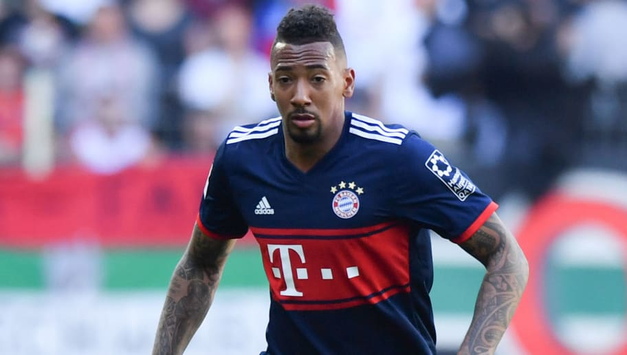 AUGSBURG, GERMANY - APRIL 07: Jerome Boateng of Bayern Muenchen plays the ball during the Bundesliga match between FC Augsburg and FC Bayern Muenchen at WWK-Arena on April 7, 2018 in Augsburg, Germany. (Photo by Sebastian Widmann/Bongarts/Getty Images)