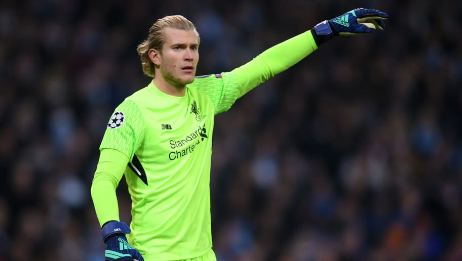 MANCHESTER, ENGLAND - APRIL 10:  Loris Karius of Liverpool gives instructions during the Quarter Final Second Leg match between Manchester City and Liverpool at Etihad Stadium on April 10, 2018 in Manchester, England.  (Photo by Laurence Griffiths/Getty Images,)