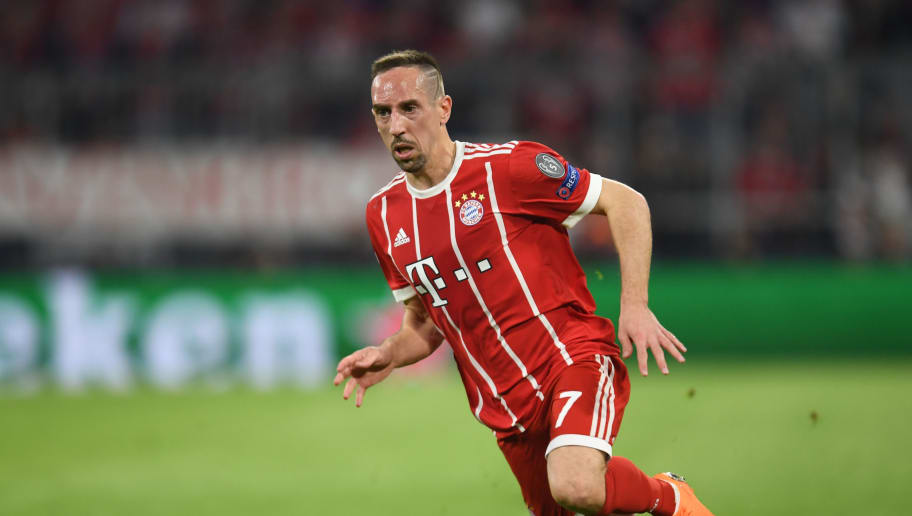 Bayern Munich's French midfielder Franck Ribery runs during the UEFA Champions League quarter-final second leg football match between FC Bayern Munich and Sevilla FC on April 11, 2018 in Munich, southern Germany. Bayern Munich marched into another Champions League semi-final despite 10-man Sevilla holding them to a goalless draw at home. / AFP PHOTO / Christof STACHE        (Photo credit should read CHRISTOF STACHE/AFP/Getty Images)