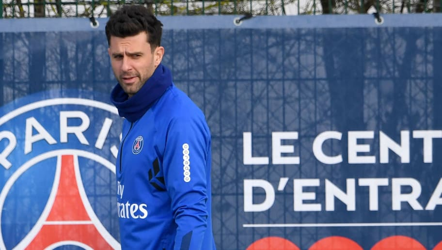 Paris Saint-Germain's Italian midfielder Thiago Motta looks on during a training session at Saint-Germain-en-Laye on the outskirts of Paris on February 9, 2018.  / AFP PHOTO / ALAIN JOCARD        (Photo credit should read ALAIN JOCARD/AFP/Getty Images)