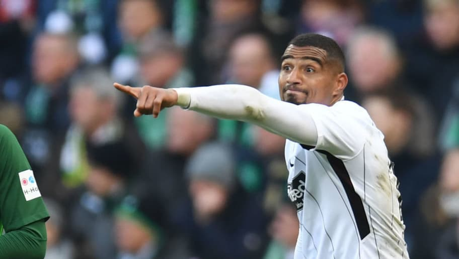 Frankfurt's Ghanaian midfielder Kevin-Prince Boateng reacts during the German first division Bundesliga football match Werder Bremen vs Eintracht Frankfurt, in Bremen, northern Germany, on April 1, 2018. / AFP PHOTO / Patrik STOLLARZ / RESTRICTIONS: DURING MATCH TIME: DFL RULES TO LIMIT THE ONLINE USAGE TO 15 PICTURES PER MATCH AND FORBID IMAGE SEQUENCES TO SIMULATE VIDEO. == RESTRICTED TO EDITORIAL USE == FOR FURTHER QUERIES PLEASE CONTACT DFL DIRECTLY AT + 49 69 650050         (Photo credit should read PATRIK STOLLARZ/AFP/Getty Images)