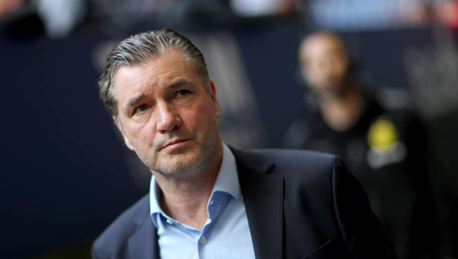 GELSENKIRCHEN, GERMANY - APRIL 15: Michael Zorc, manager of Dortmund looks on prior to the Bundesliga match between FC Schalke 04 and Borussia Dortmund at Veltins-Arena on April 15, 2018 in Gelsenkirchen, Germany. The match between Schalke and Dortmund ended 2-0 (Photo by Christof Koepsel/Bongarts/Getty Images)