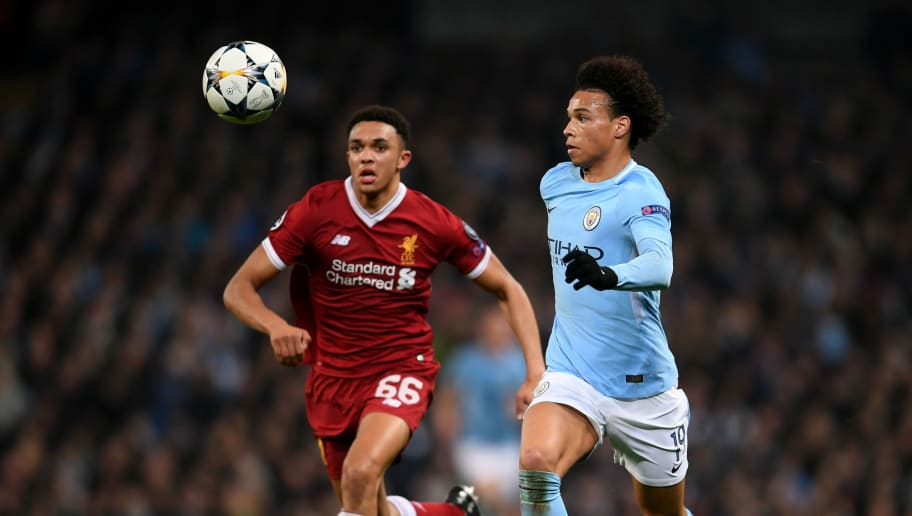 MANCHESTER, ENGLAND - APRIL 10:  Leroy Sane of Manchester City runs with the ball under pressure from Trent Alexander-Arnold of Liverpool during the UEFA Champions League Quarter Final Second Leg match between Manchester City and Liverpool at Etihad Stadium on April 10, 2018 in Manchester, England.  (Photo by Laurence Griffiths/Getty Images,)