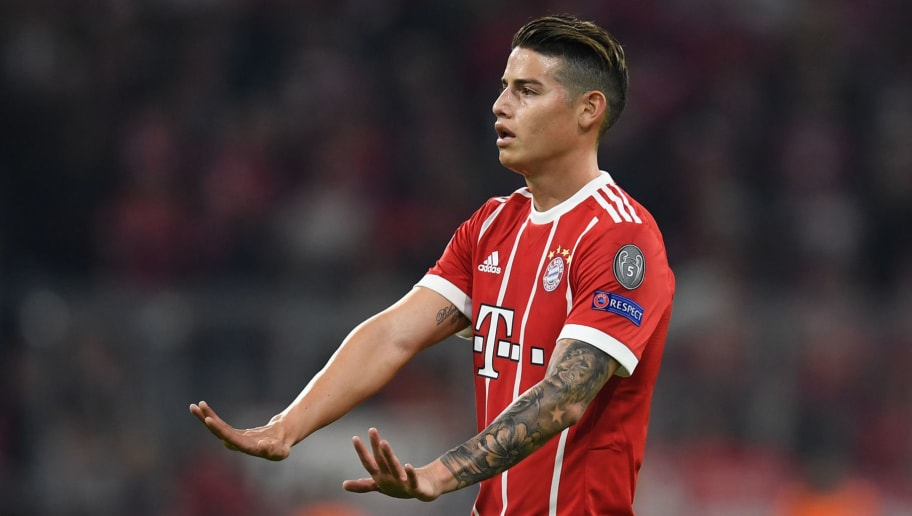 Bayern Munich's Colombian midfielder James Rodriguez gestures during the UEFA Champions League quarter-final second leg football match between FC Bayern Munich and Sevilla FC on April 11, 2018 in Munich, southern Germany. Bayern Munich marched into another Champions League semi-final despite 10-man Sevilla holding them to a goalless draw at home. / AFP PHOTO / Christof STACHE        (Photo credit should read CHRISTOF STACHE/AFP/Getty Images)