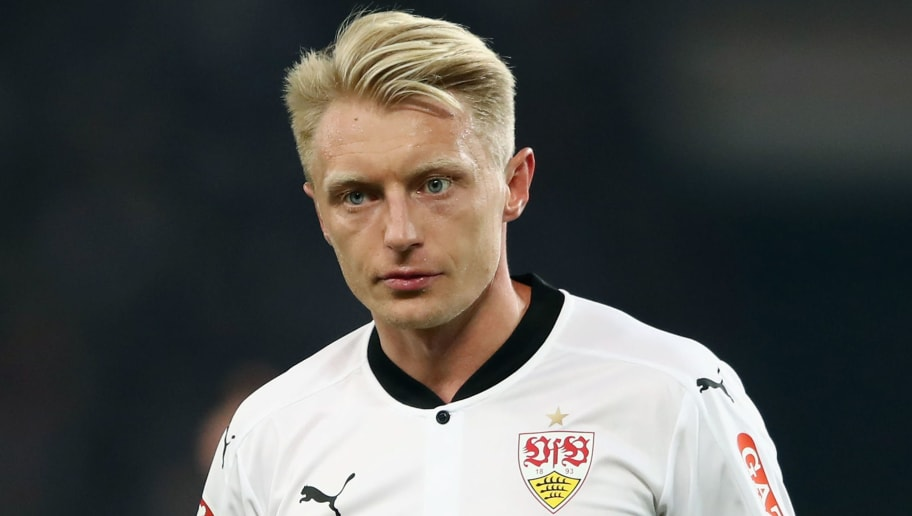 STUTTGART, GERMANY - OCTOBER 29:  Andreas Beck of Stuttgart reacts during the Bundesliga match between VfB Stuttgart and Sport-Club Freiburg at Mercedes-Benz Arena on October 29, 2017 in Stuttgart, Germany.  (Photo by Alex Grimm/Bongarts/Getty Images)